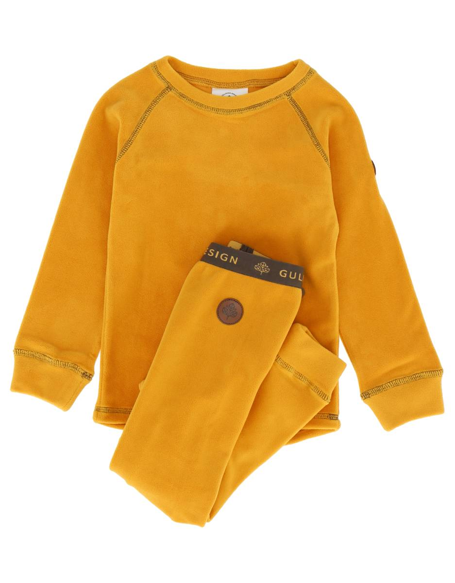 Gullkorn Design Jona Fleece-sett - støvgul